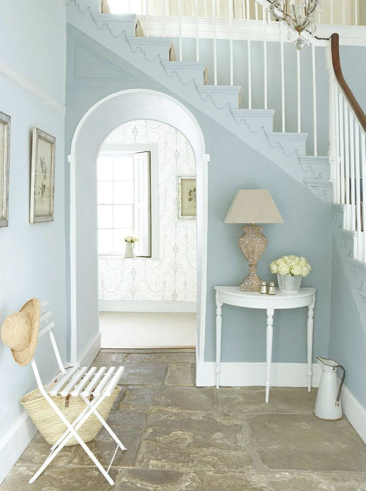Hallway idea. Love scroll wallpaper in background too. (Little Greene)