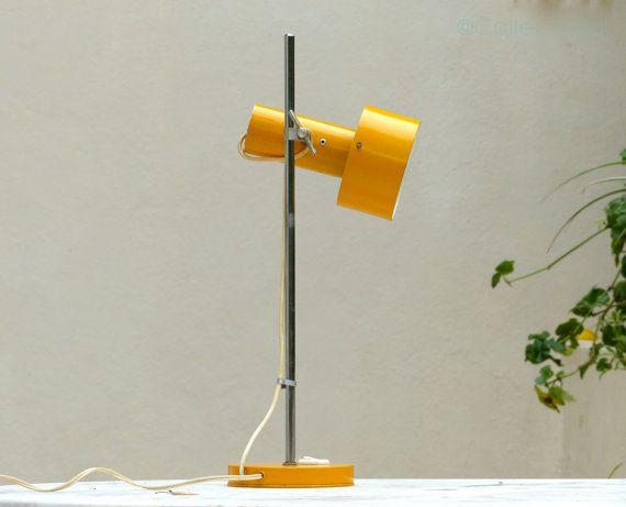 Orange desk lamp - lamp vintage Scandinavian style - lamp Peter Nelson