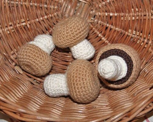 Crocheted button mushrooms
