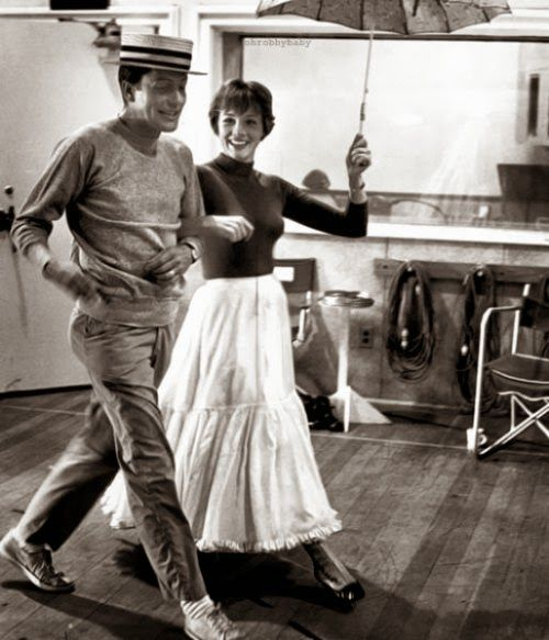 Mary, (Julie Andrews) and Bert, (Dick Van Dyke), backstage practicing their dance steps, for the 1964 movie, Mary Poppins.