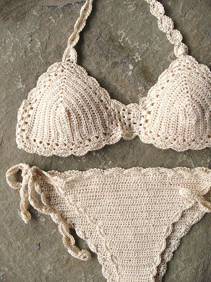 Crochet bikini set in cream Crochet swimsuit Crochet by MarryG