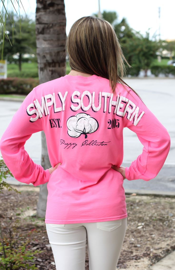 "Simply Southern Long sleeve tee. Model is 5'3"" wearing a small."