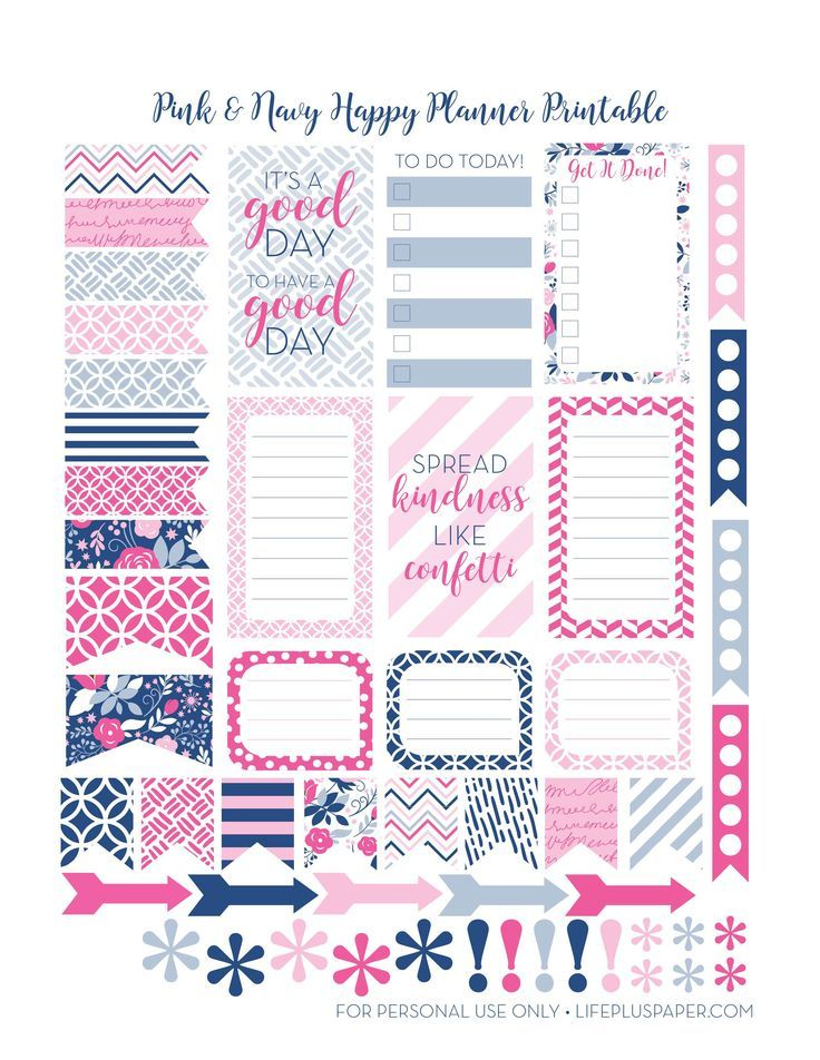 Free Printable Navy-&-Pink Planner Stickers from LifePlusPaper.com