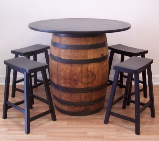 "Aged White Oak Whiskey Barrel Table-42"" Tabletop-(4) 24"" Black Bar Stools"