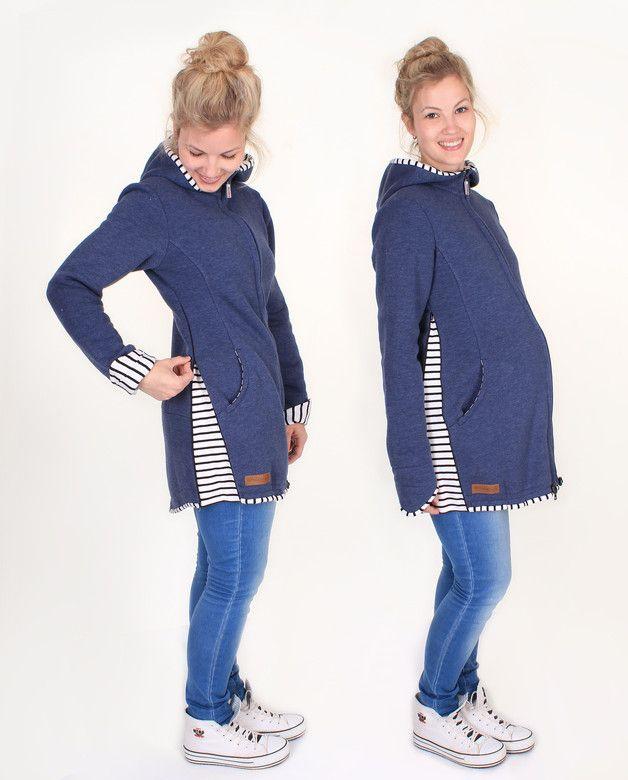 Tragetücher & Mei Tai - Mika Sweat Tragejacke jeansblaumeliert gestreift - ein Designerstück von Milchshake-by-AgnesH- bei DaWanda