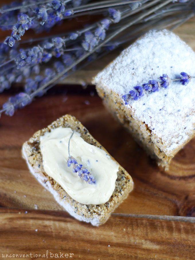 Mini Lemon Poppy Seed Loaves with Whipped Lemon Lavender Butter {Gluten-Free, Vegan, Refined-Sugar-Free, Oil-Free Option}