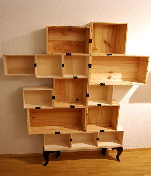 diy wall box | Designers create DIY Wine Shelf from wine boxes & old table | Home ...