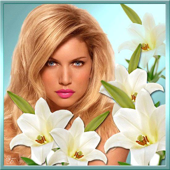 Картинка gif Девушки Блондинка и белые цветы