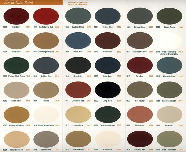 Old Century Paint Color Chart | ... colors and sizes can be special ordered acrylic paint color chart