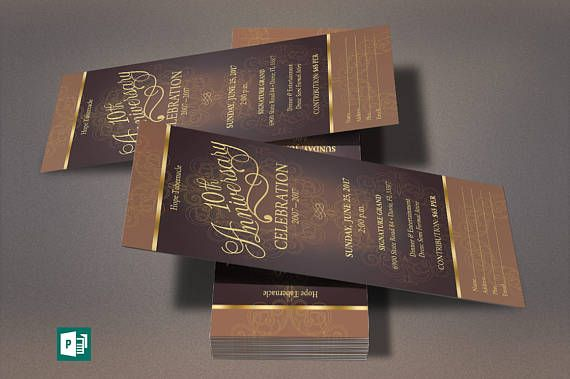 Gold Church Anniversary Word Publisher Ticket Template