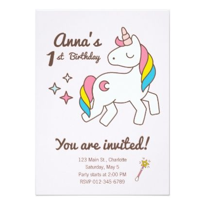 Birthday. Cute Unicorn with Cute Wand & Sparks Card - invitations custom unique diy personalize occasions