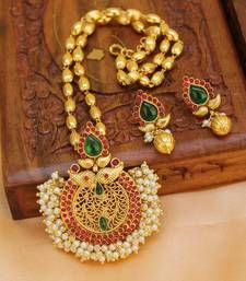 Buy Multicolor gold plated agate necklace set south-indian-jewellery online at, http://www.mirraw.com/designers/urshi-collections/designs/multicolor-gold-plated-agate-necklace-set-south-indian-jewellery--10