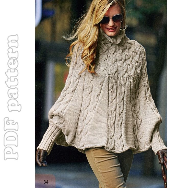 CraftyLine e-pattern shop: Puffy Sleeves Cable Turtleneck Poncho English Knitting Pattern PDF