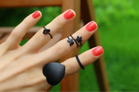 Zarif Kalpli Siyah Eklem Yüzük, Siyah / Ayarlanabilir, Yüzük Set, Takimania