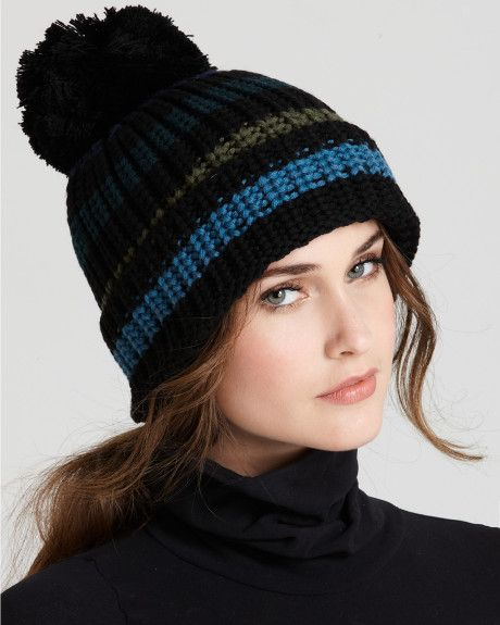 Sonia Rykiel Blue Wool Stripe Knit Hat SONIA RYKIEL adds laid-back cool to the pom-pom hat with a slouchy silhouette and blue-and-green stripes. Color: blue green multi