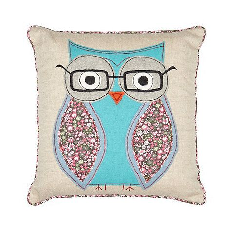 Debenhams Natural stitched geeky owl cushion- at Debenhams.com