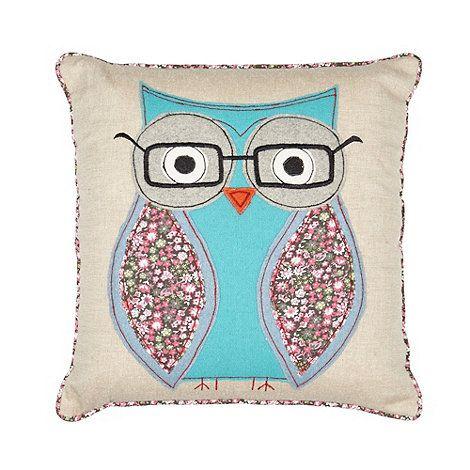 Debenhams Natural stitched geeky owl cushion- at Debenhams.com