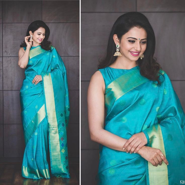"16.7k Likes, 70 Comments - Neeraja Kona (@neeraja.kona) on Instagram: ""‪Saree time! @Rakulpreet in South India shopping mall saree and jewellery for their store launch …"""