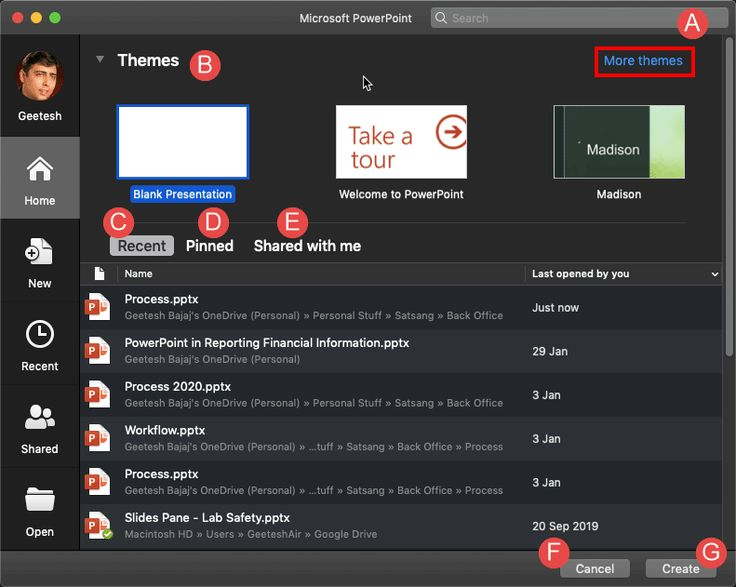 Home Tab of Backstage View in PowerPoint 365 for Mac in ...