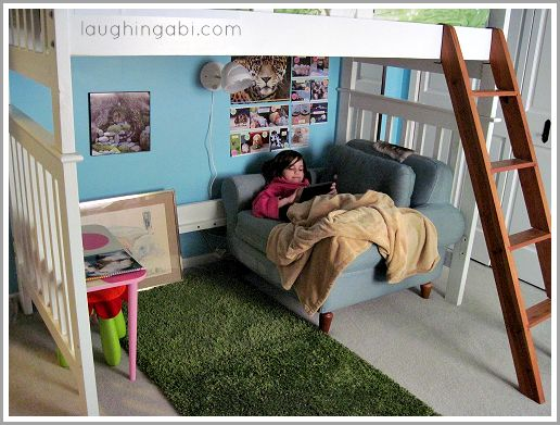 Loft bed for a little girls room from laughingabi.com ~ not just for little girls!