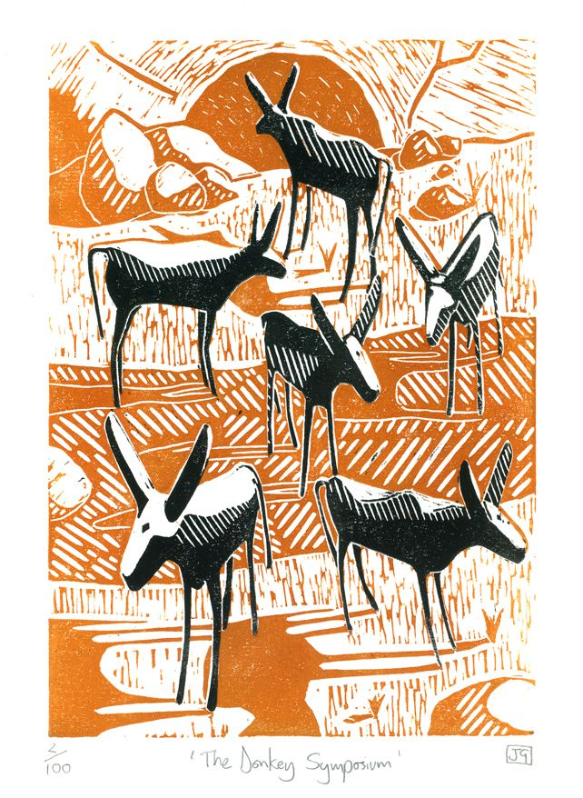 """The Donkey Symposium"" 2-colour linocut print by James Green. http://folksy.com/shops/jamesgreenprintworks Tags: Linocut, Cut, Print, Linoleum, Lino, Carving, Block, Woodcut, Helen Elstone, Landscape, Donkey, Animal, Sky"