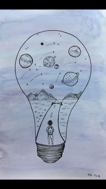 Drawing Planet Lightbulb Light Bulb In 2019