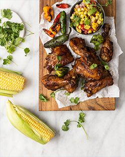 MEXICAN CHICKEN  WITH GRILLED CHILLIES AND CORN SALSA - Sweet and spicy, quick and easy – just the kind of midweek dinner we're after.