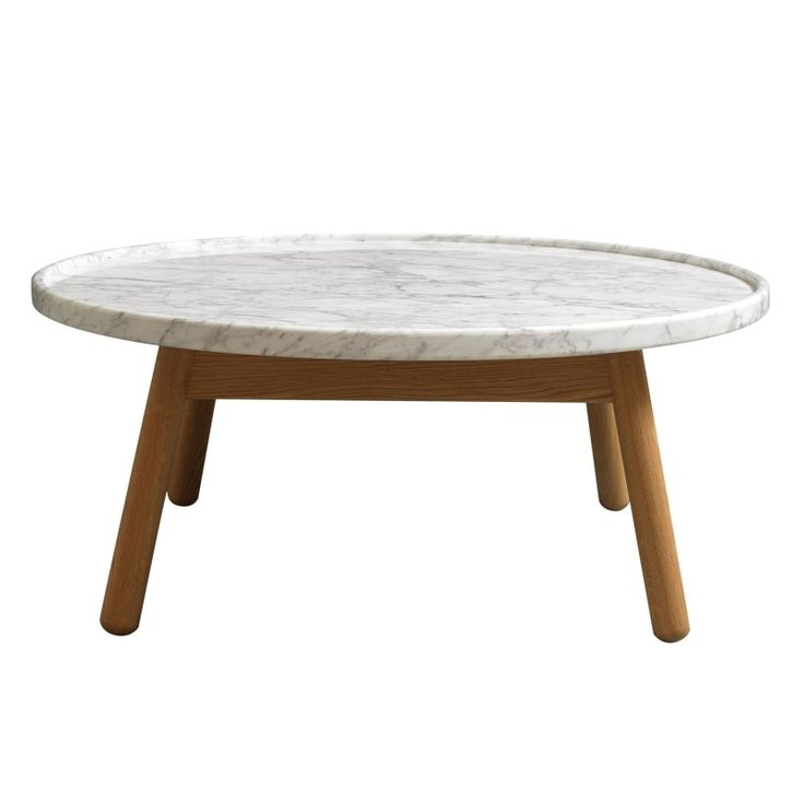 Carve Coffee Table Round, Oak Base U0026 White Marble Top Gallery