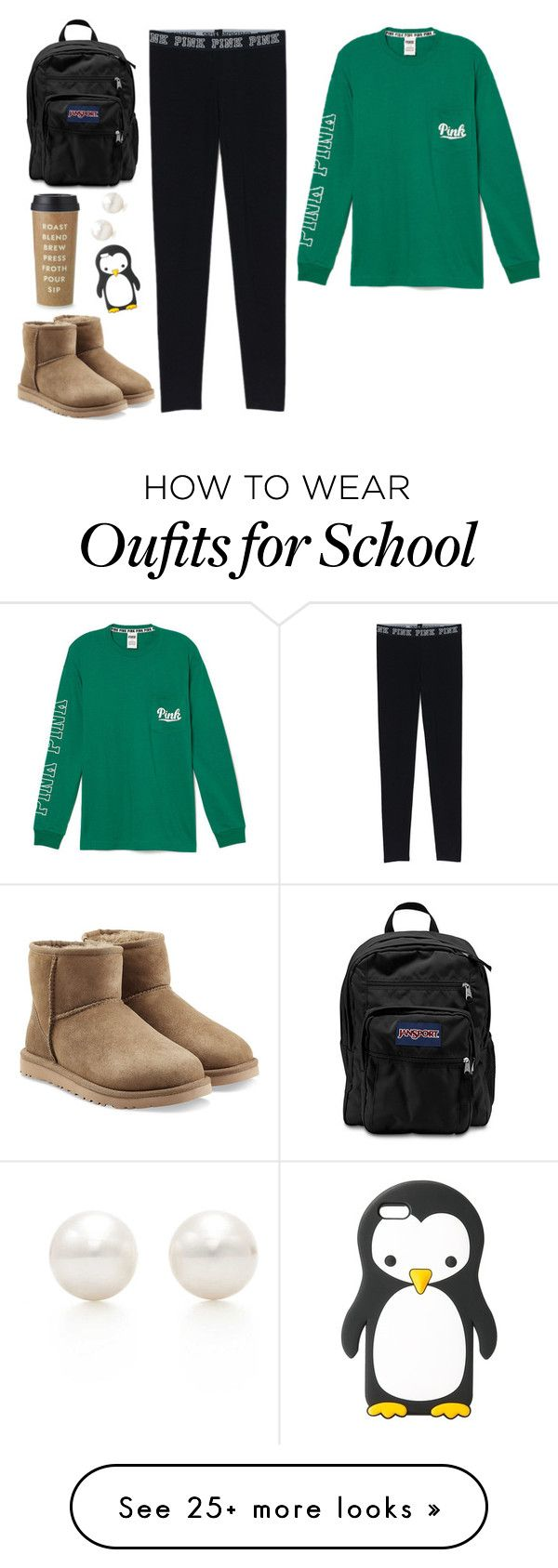 lazy school day by caterina-stolfi on Polyvore featuring UGG Australia, JanSport, MANGO, Tiffany Co. and Kate Spade