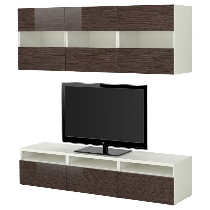 BESTÅ Agencement meuble télé - blanc motif bambou/brun ultrabrillant, 180x38 cm - IKEA