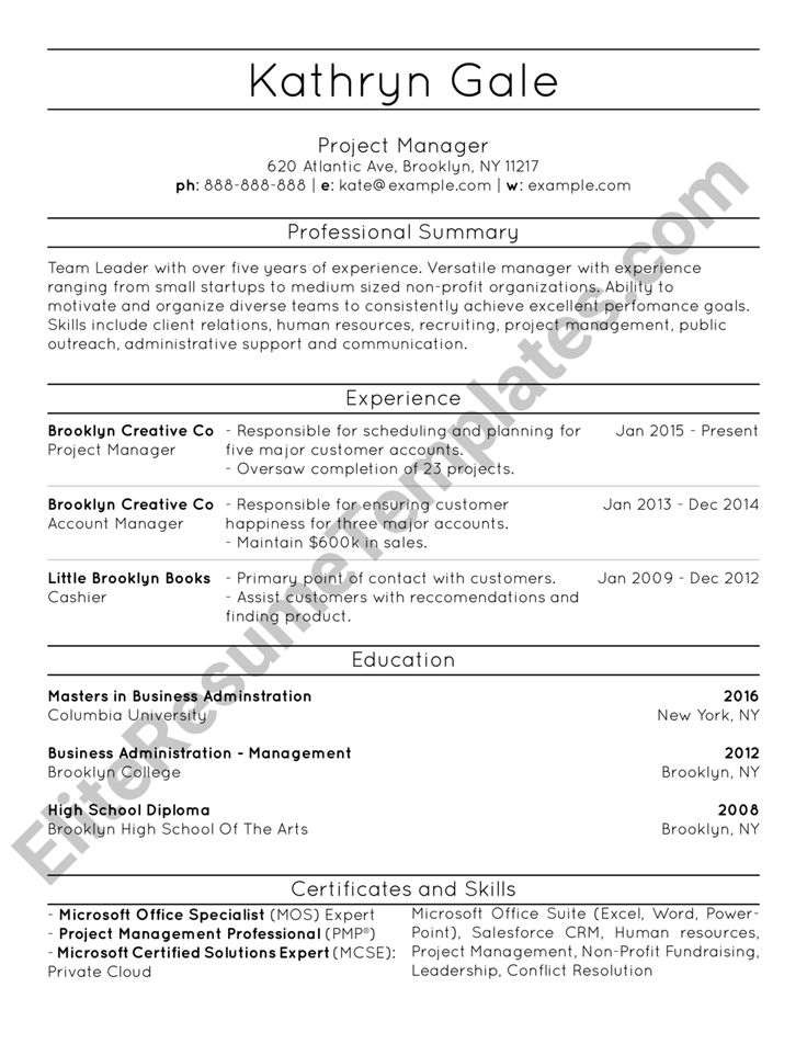 7 best Resumes images on Pinterest | Resume templates, Brooklyn and ...