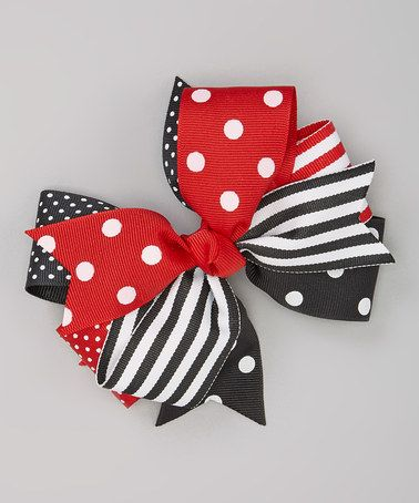 Take a look at this Black & Red Polka Dot Bow Clip by Fairy Bow Mother on #zulily today!