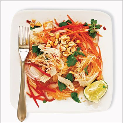 To ensure the noodles get soft, soak them in the hottest water you can get from your tap. The salad is moderately spicy; reduce the chile...