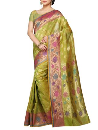 Buy Kgn light green , peach silk handloom  saree Online, , LimeRoad