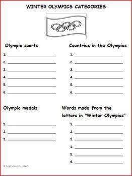 WINTER OLYMPICS CATEGORIES: FREEBIE