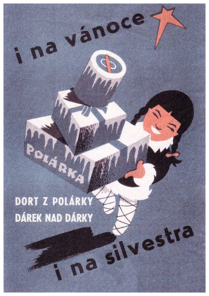 Czechoslovakia advertising for Ice cream Polarka,50-60s M. Petrov