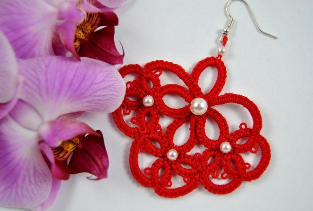 Kolczyki frywolitkowe czerwone - Positively-Crazy - Kolczyki wiszące #biżuteria#handmade#earrings#jewelry#art#koronka#beautiful#rękodzieło#ręcznie#robione#handicraft#buy#lace#kolczyki#frywolitka#wiszące#czerwone#red#perełki#pearls#czerwony#occhi#Ohrringe#Schmuck#Kunsthandwerk#Perlen