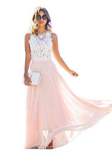 Damen Elegant Edel Maxikleider Ärmellos Ballkleid Cocktailkleid Partykleid A-Linie Cocktail Spitze Stitching Aushoshlen Rosa