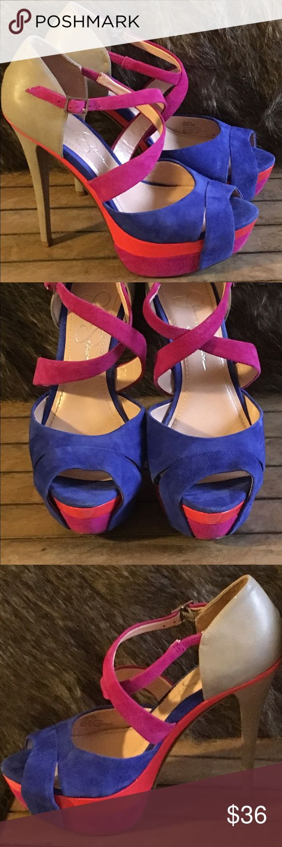 💸Jessica Simpson 👠 wish platform pumps 🔥🔥sale 💰💰Excellent heals Jessica Simpson Women's Wish Open Toe Sandal in Blue Iris Combo. With a high, high 5-inch heel offset by a 1½-inch platform, this shoe is perfectly formed and executed, flawless, luxurious to the touch, and beyond any doubt an eye-cather! Jessica Simpson Shoes Heels