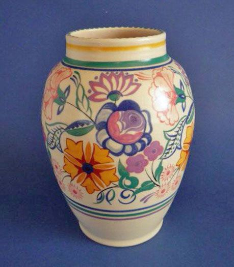 Large Poole Pottery CS Pattern Vase by Truda Carter c1937