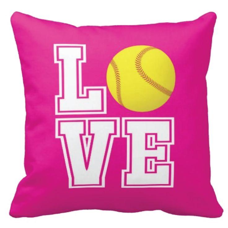 custom softball love throw pillow for softball players sports gift for softball team softball player bedding and bedroom decor for teenage girls
