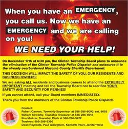 Support Clinton Township Police Dispatchers