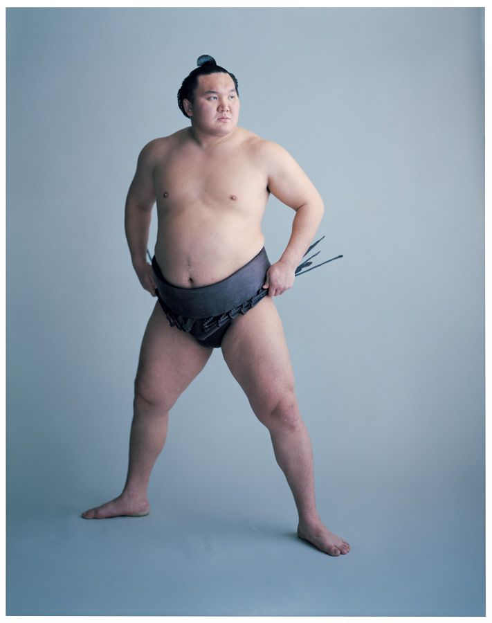 "Champion sumo wrestler Hakuho. He is 6' - 4"" and approximately 350 pounds. Photo by Yoshihiko Ueda"