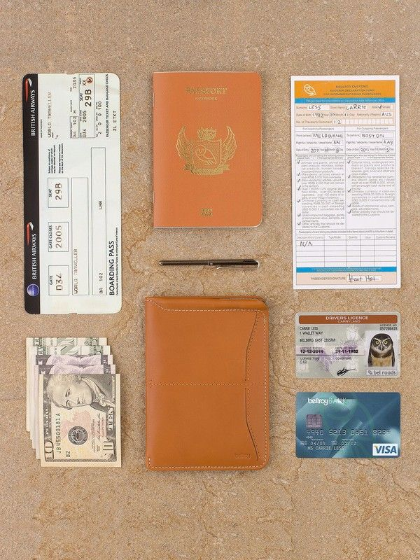 Bellroy Passport case in orange leather with micro pen