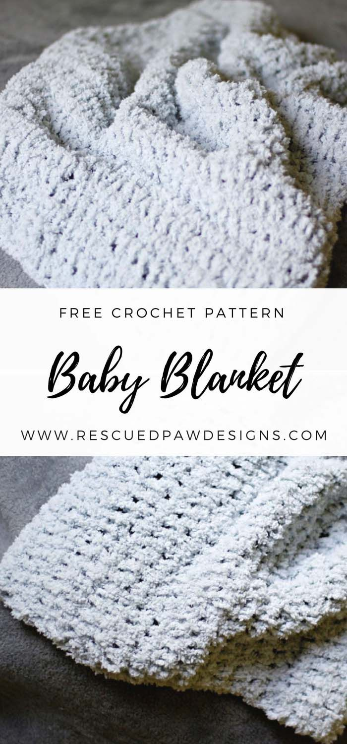 Free Crochet Baby Blanket Pattern! Great for Baby Showers, Gifts and a just because I want to make something excuse. :) Find this and many more free crochet patterns at www.rescuedpawdesigns.com. Happy Crocheting!