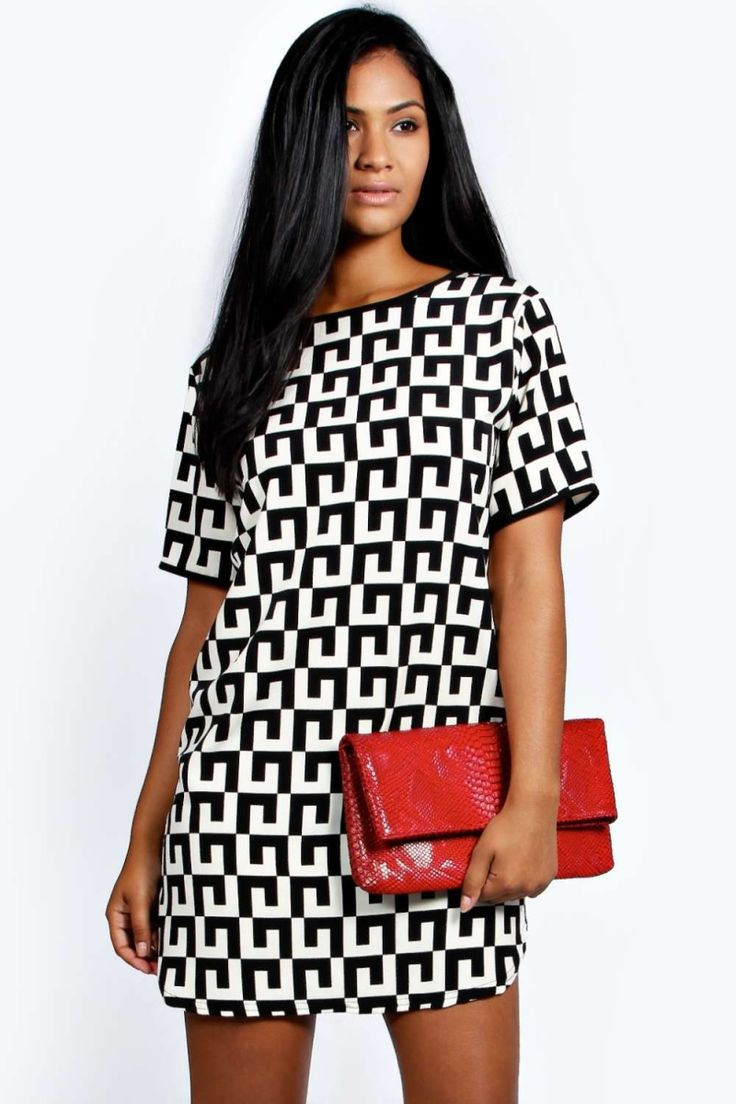 Mini dress with geometric print