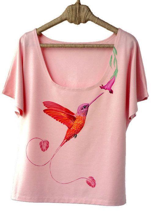 Hand Painted, Designer Shirts, Art Clothing, Handpainted, Animal Shirt, Hummingbird, Painted Clothing, Animal Tshirt, Painted Shirt, Bird Clothing, Bird Shirt, Funny Animal Shirt, Handpainted Clothing