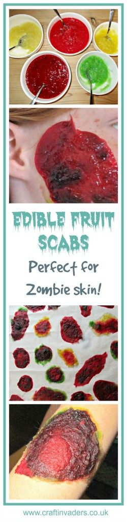 A truly revolting recipe for Halloween! Edible fruit scabs that you can peel off…