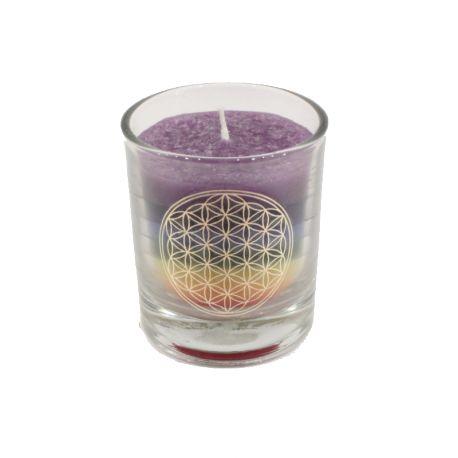 Mycket effektfullt chakraljus med sju färger. Livets blomma på glaset. Brinner i ca 15 timmar.