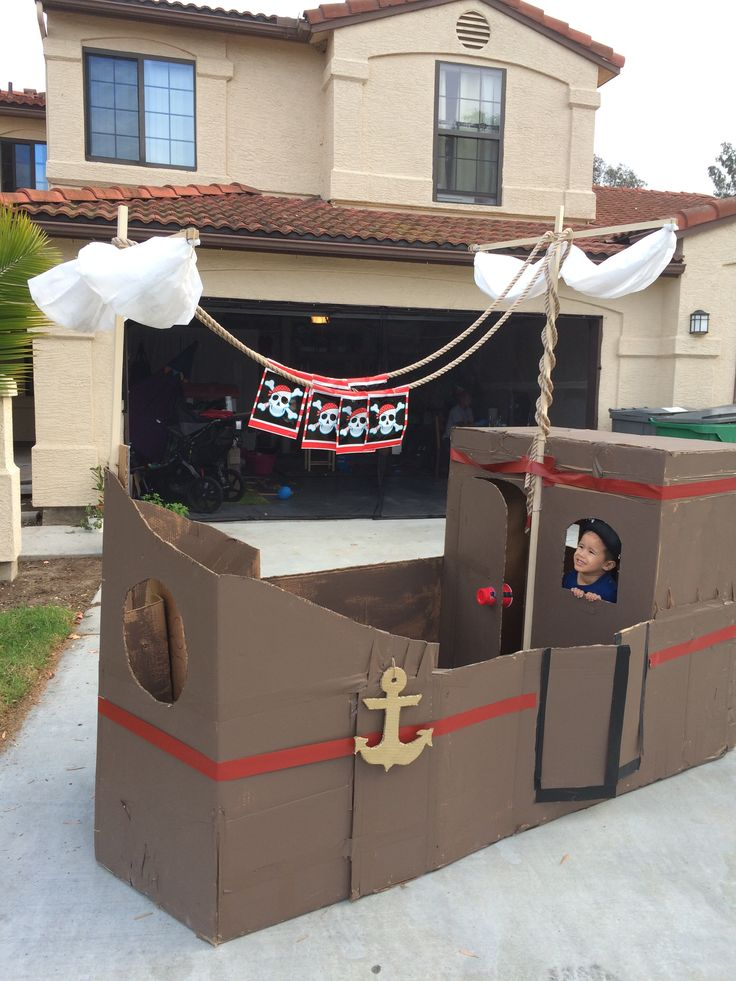 5 wardrobe moving boxes later and here it is! A pirate ship for our special birthday boy! What fun it was to build!